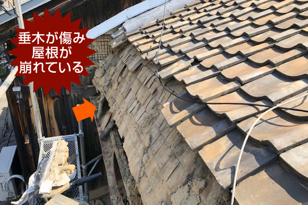 垂木が傷み屋根が崩れている様子