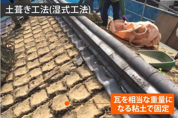 瓦を相当な重量になる粘土で固定