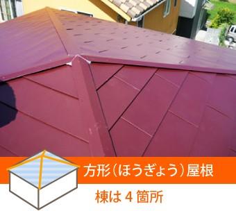 方形屋根の棟は4箇所