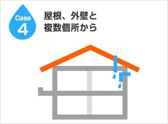 漏水経路4:屋根、外壁と複数個所から
