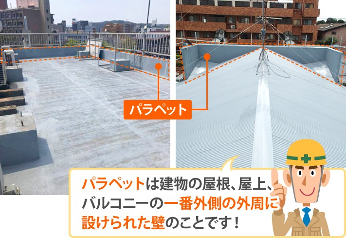 パラペットは建物の屋根、屋上、バルコニーの一番外側の外周に設けられた壁のことです!