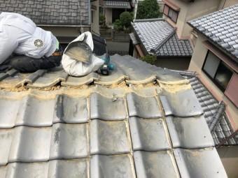棟瓦の撤去