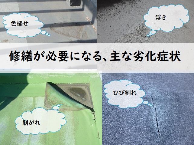 屋上修繕が必要な劣化症状