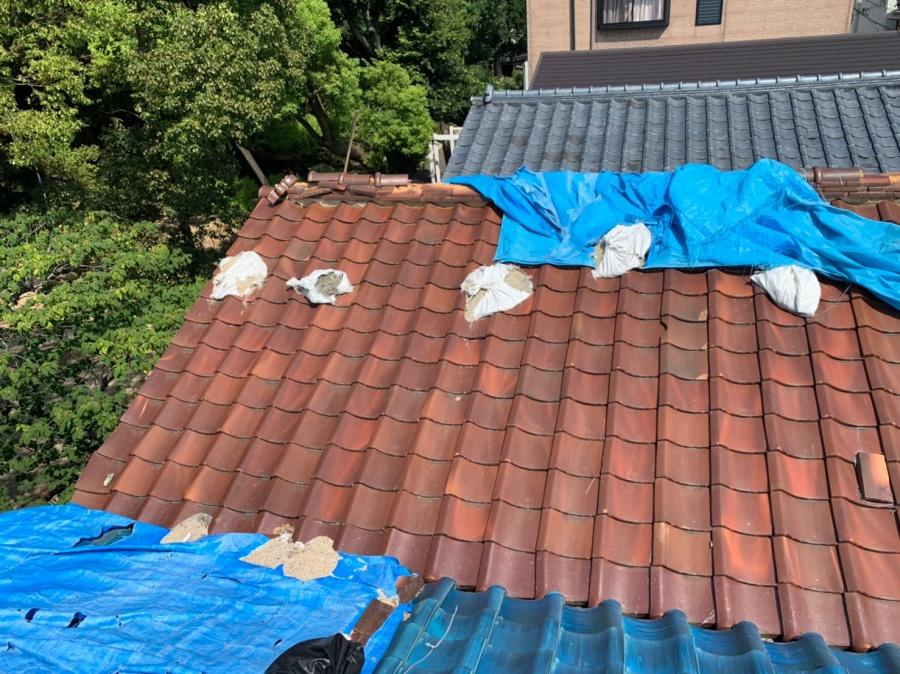 松原市にて屋根の棟瓦を強化棟に交換し屋根修理をさせていただきました