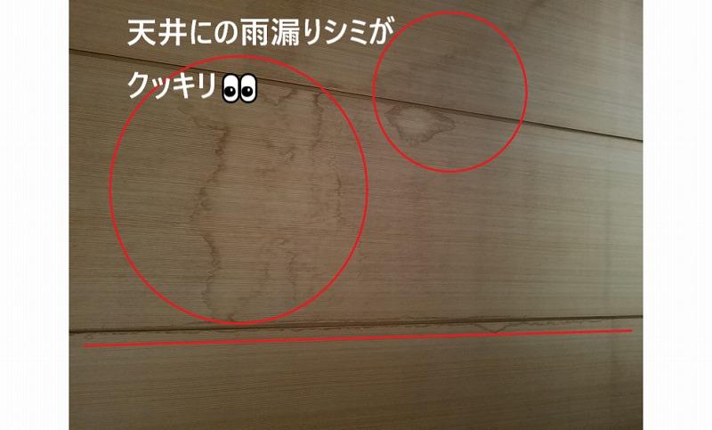 天井の雨漏りシミ