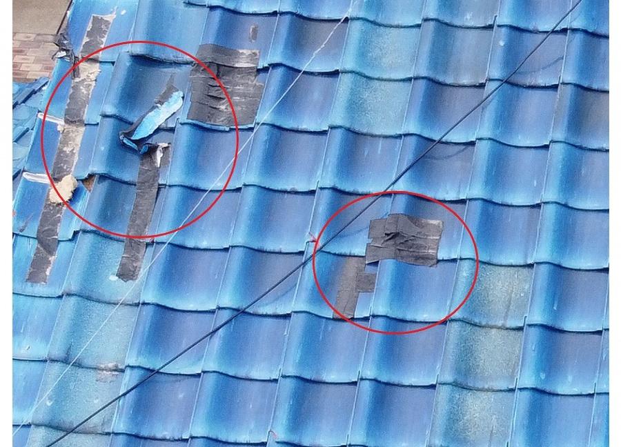 防水テープによる応急処置