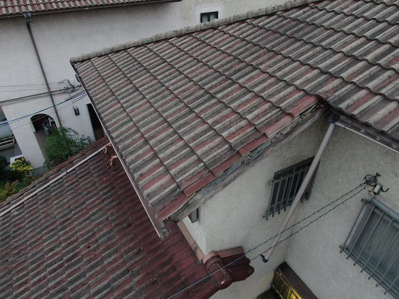 台風被害で雨樋破損