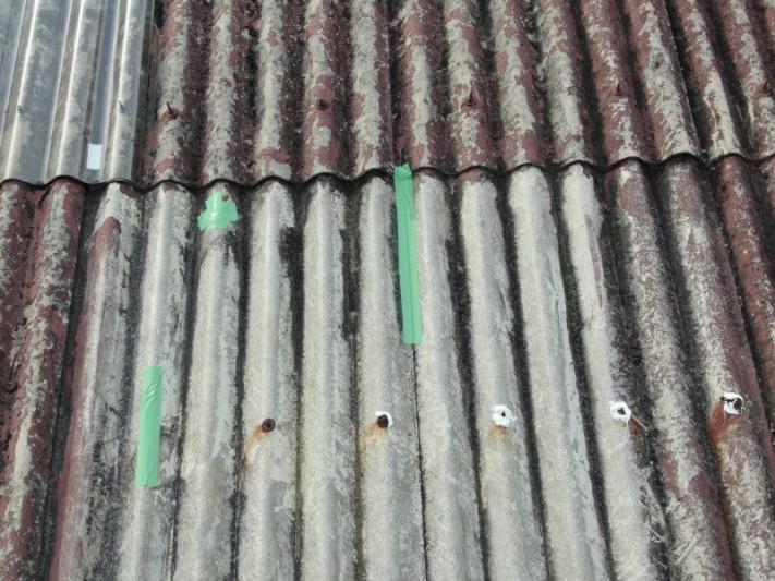 スレート屋根のテープ補修