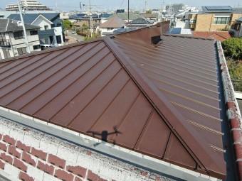 陸屋根部分に施工された金属屋根