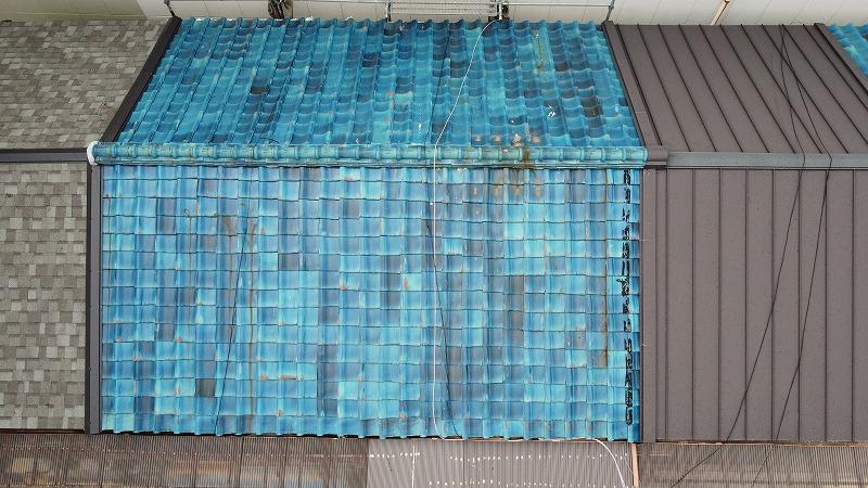 松原市にて瓦屋根補修 瓦屋根の漆喰打ち直しと、強化棟への交換