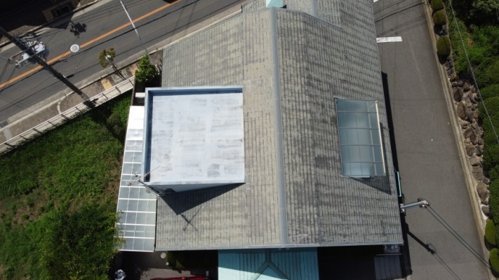 陸屋根付きスレート屋根
