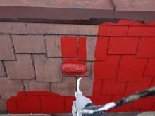 パラペットの中塗り塗装