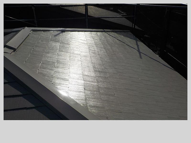 スレート屋根の遮熱フッソ塗装完了