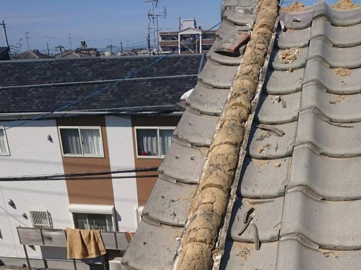 棟瓦のやり直し工事