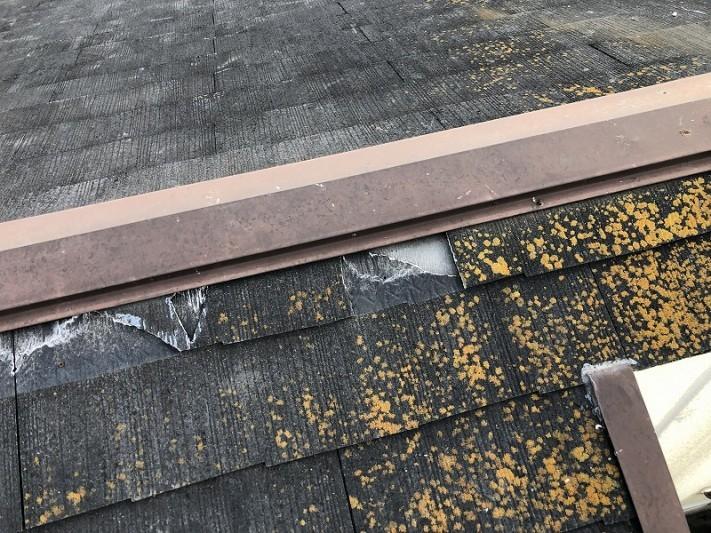 スレート屋根にコケ