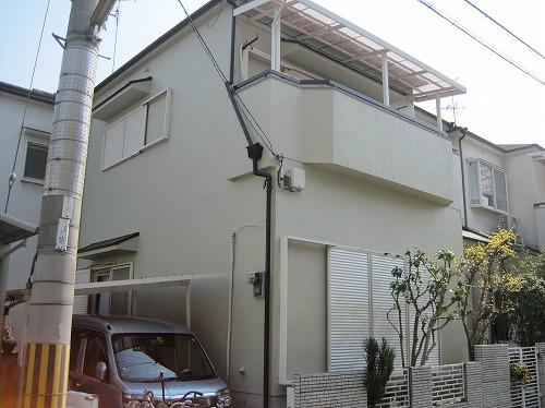 屋根補修完成の家