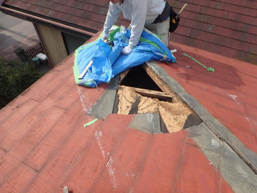 台風で屋根材飛散