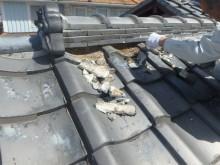 屋根の漆喰詰め直し