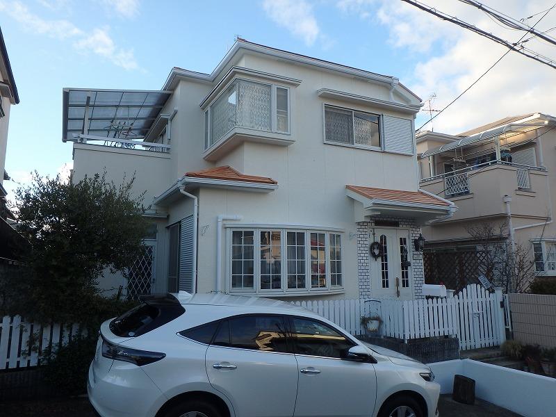 明るい色の屋根塗装例下から サンタンオレンジ
