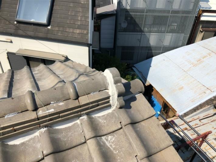 瓦屋根補修工事4漆喰補修