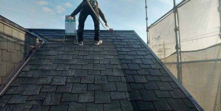 屋根ノリ材塗装