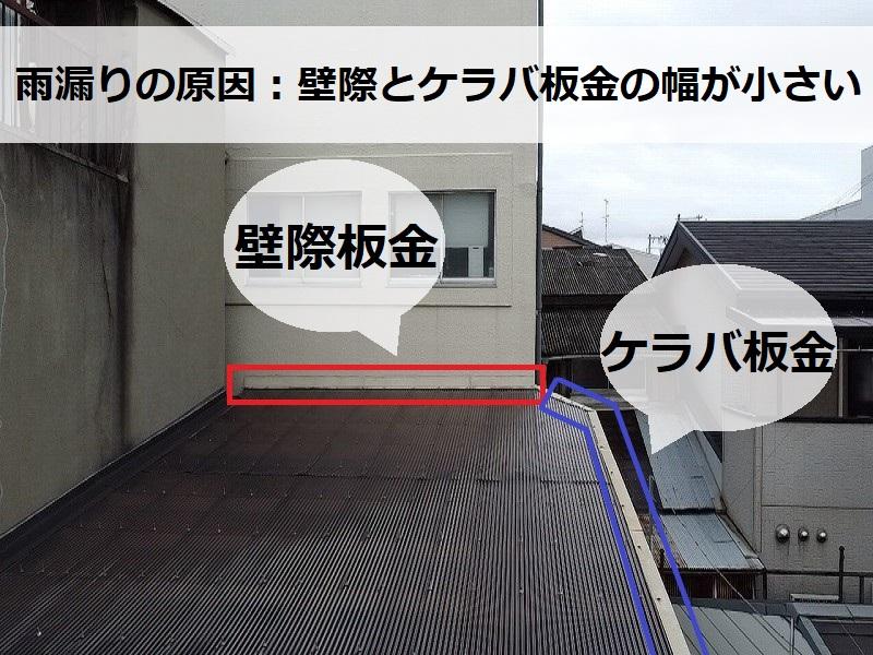 工場波板屋根雨漏りの原因 壁際板金とケラバ板金の幅が小さい